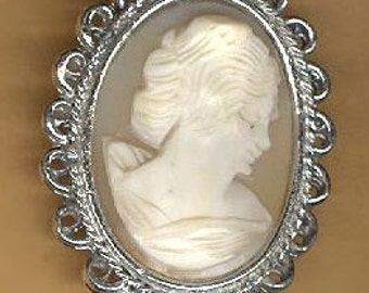 vintage clasp cameo clasp real cameo clasp, two strand silvertone with fancy edge GENUINE CAMEO clasp