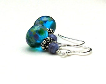 Blue and Purple Lampwork Dangle Earrings, Sterling Silver Floral Earrings, Gift for Girlfriend, for her under 100