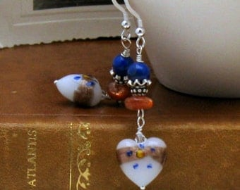 Lapis and Sunstone Heart Dangle Earrings, Gemstone and Murano Venetian Glass Boho Earrings, Romantic, For Her Under 125