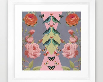 Whimsical nature collage art print- flowers- birds- pink-grey-butterflies- blue-green- roses-geometric
