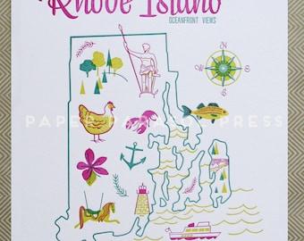 Rhode Island State Letterpress Print 8x10
