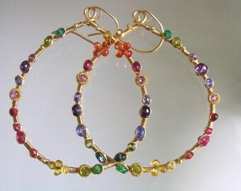 Gemstone Gold Filled Teardrop Hoops, Wire Wrapped Boho Earrings, Artist Made, Colorful Dangles, Sapphire, Amethyst, Tanzanite
