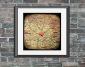 Map art print - i love you los angeles echo park - candy heart photo custom engagement wedding anniversary gift nursery wall decor