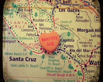 Map art print - marry me Capitola California - candy heart custom engagement wedding anniversary gift wall decor