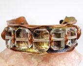 Quartz Cuff Bracelet, Rustic, Beaded Copper Jewelry, Womens Chunky Cuff, Anticlastic, Repurposed Copper, Forged Cuff, Heat Patina- Windows