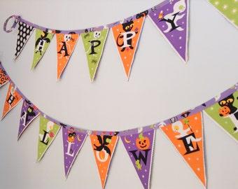 Fall Decor -Happy Halloween - Fabric Banner Bunting - Reversible Orange Black Pumpkins Skeletons Ghosts Bats and Goblins