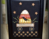 Halloween Primitive Candy Corn Canvas Picture Framed Home Decor