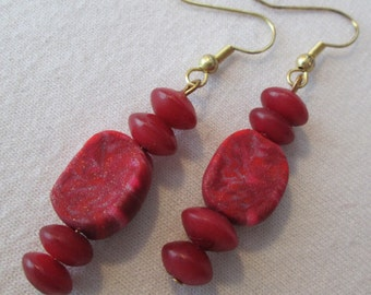 Red Sculpey Clay and Bone Earrings