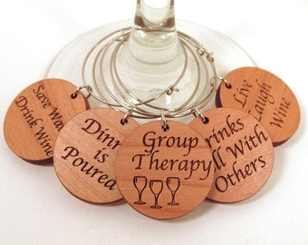 Wooden Wine Charms - Wine Sayings