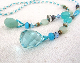 Blue Lariat Necklace, Stone Necklace, Crystal Necklace, Unique Jewelry,