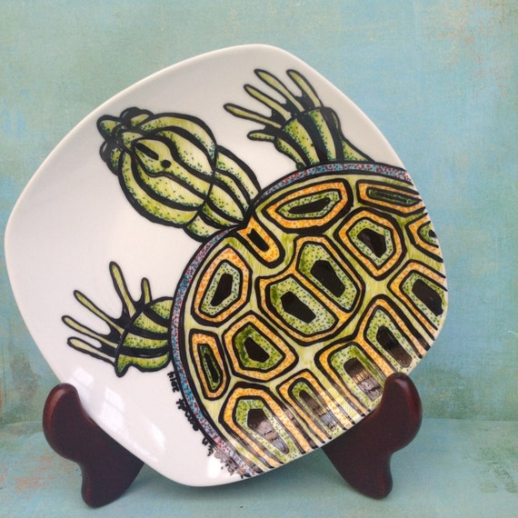 Porcelain Hand Painted Turtle Plate for Birthday Special Occasion Wedding or Engagement Gift Ready to Ship