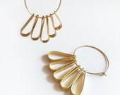 Gold Hoop Earrings, Dangle Earrings, Drop Earrings, Romantic Gold, Modern Jewelry, Boho Chic Earrings