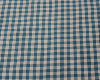 Blue Gingham Fabric - 1 Yard