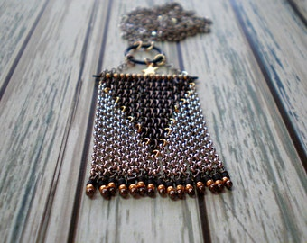 Cowgirl Style Star Statement Necklace - Geometric Fringe Of Chains - Geometric Chain Art - Boho Jewelry - Cowboy Necklace - Rodeo Jewelry -