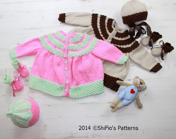 KNITTING PATTERN for Baby Jacket, Bonnet, Hat, Booties in 2 Sizes PDF 157 Digital Download