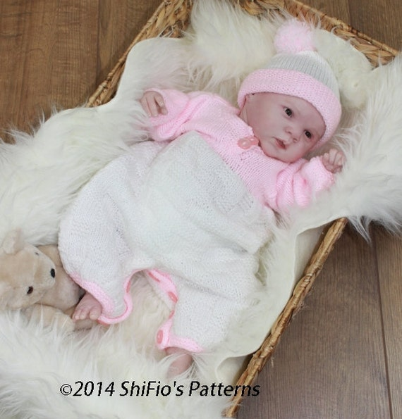 KNITTING PATTERN For Baby Suit, Hat, Knitting Pattern in 3 Sizes PDF 115 Digital Download