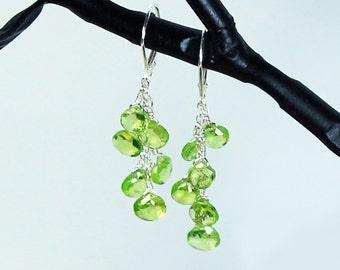 Green Peridot Earrings, Peridot Dangle Earring, August Birthstone, Sterling Silver Leverbacks