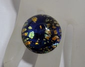 Vintage 18mm Round Foiled Stone in Midnight Blue Opal