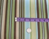 Fabric Remnant Cotton Duck, Stripe, Brown, Blue, Green, Tan, Cream 2/3 Yard