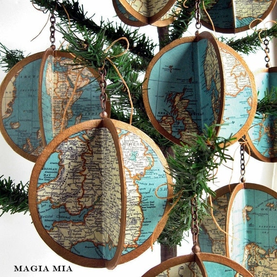 Globe Map Atlas Ornament ...... Limited Edition Handmade Decoupage Turquoise Bronze