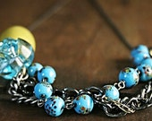 Layer necklace fashion blue brass robins egg blue speckled Seven jewelry