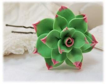 Flowerk Tip Succulent Hair Clip Pin - Flowerk Green Succulent Hair Flower