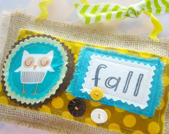 Cute Fall Owl Burlap Pillow Ornament Decoration