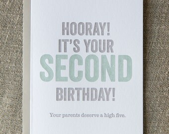Second Birthday Letterpress Card