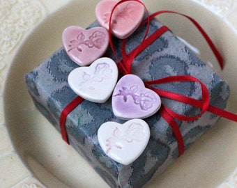 SALE Five Rose Heart Magnets, Pinks and Purples, Valentine's Day, Wedding Gift