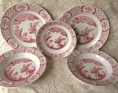 RARE Antique Victorian 1890- 1913 Set Of 5 Red Transferware Old Chelsea Furnival Limited Dishes