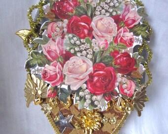 Victorian Style Rose Bouquet, Flower Basket, Ephemera Craft Supplies