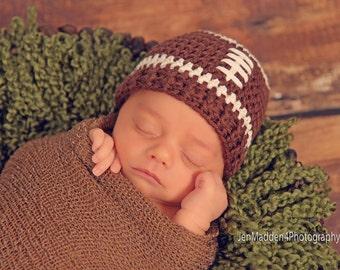 Football Hat , football beanie , Crochet Baby Hat ,Baby boy hat , newborn to adult custom team colors ,