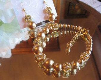 Swarovski Gold Pearl and Gold Filled Swarovski Rhinestone Bracelet and Earring Set - Bride or Bridesmaid Pearl Jewelry Set