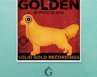 Golden Retriever dog Record Company original graphic illustration giclee print by Stephen Fowler