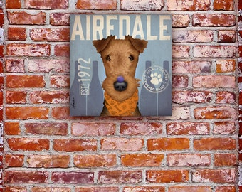 AIREDALE wine company original graphic art illustration on gallery wrapped canvas by stephen fowler