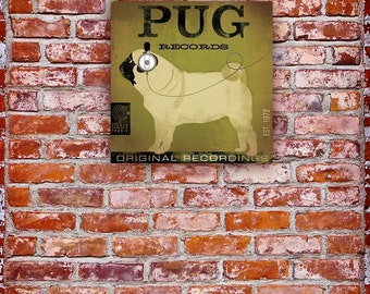 PUG records album style illustration graphic artwork on gallery wrapped canvas