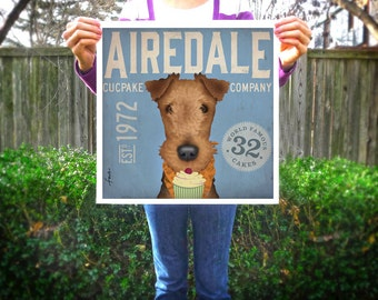AIREDALE cupcake company original graphic art illustration giclee archival signed print by stephen fowler Pick A Size