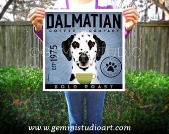 Dalmatian Coffee company original graphic illustration giclee archival signed artist's print Pick A Size