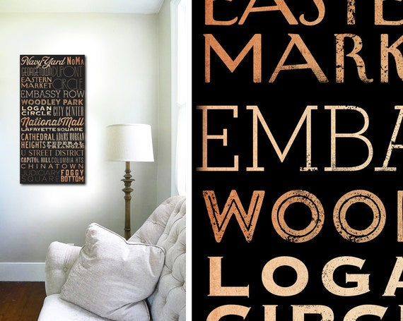 Washington DC Neighborhoods Locations typography graphic art on gallery wrapped canvas by stephen fowler