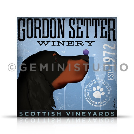 Gordon Setter dog Winery graphic illustration on gallery wrapped canvas by Stephen Fowler