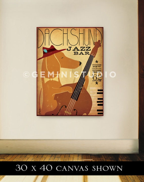 Dachshund Jazz Bar original graphic illustration on gallery wrapped canvas by Stephen Fowler
