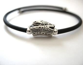 Silver Bracelet, Simple Silver Bead Cuff Bracelet, Handmade Artisan Jewelry