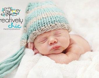 Knit newborn floppy elf pixie hat photography prop