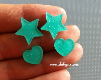 PASTEL turquoise glitter star or hearts laser cut stud earrings