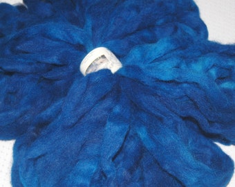 Alpaca Roving, Hand Dyed Roving, Spinning Fiber, Felting, Doll Hair - Hand Dyed Peacock Blue 4 oz.