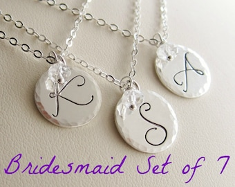 Bridesmaid jewelry, set of seven (7), personalized necklaces, bridesmaid gift set, silver initial necklaces, birthstone necklaces, weddings