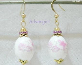 Painted Porcelain Sparkly Dangling Beaded Earrings 4 choices Pink Green Blue
