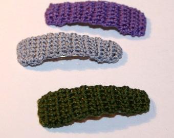 Girls Hair Clips, Crochet Hair Accessories, Gift for Girls, Birthday gift for her, Medium Hair Clip Trio, Purple, Grey, Dark Olive