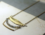 Brass feather necklace labradorite heishe beaded modern boho grey gray
