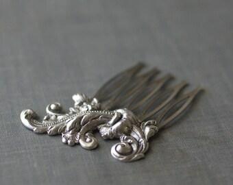 French rococo bridal hair comb antique silver elegant vintage style wedding hair